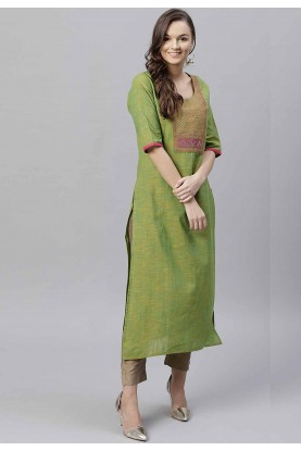 Green Colour Readymade Kurti.