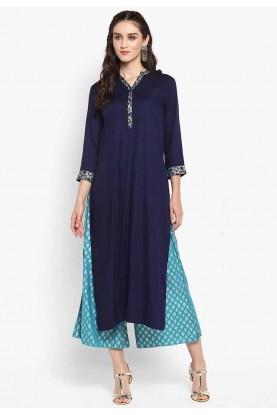 Blue Colour Cotton Kurti.
