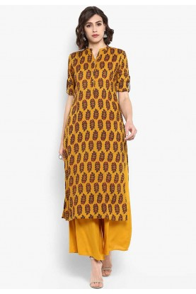 Yellow Colour Printed Readymade Kurti.