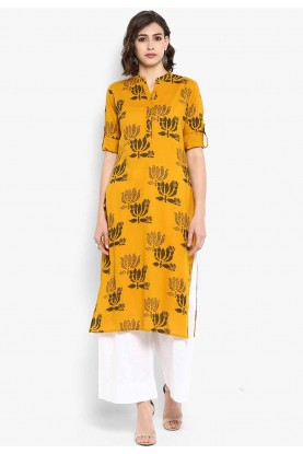 Yellow Colour Plain Kurti.