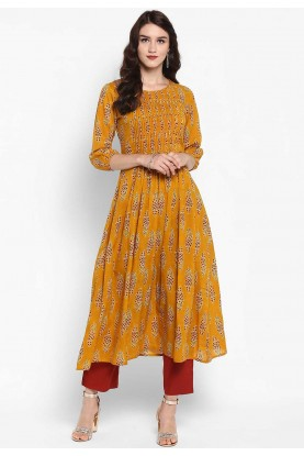 Yellow Colour Cotton Readymade Kurti.