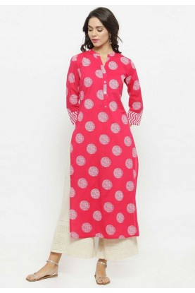 Pink Colour Cotton Kurti.