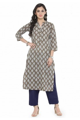 Brown Colour Printed Kurti.