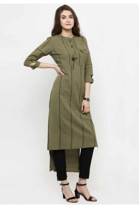 Green Colour Readymade Casual Kurtis Online