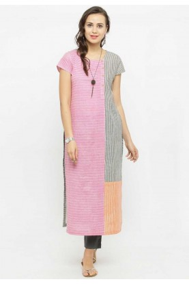 Pink Colour Cotton Casual Kurtis Online