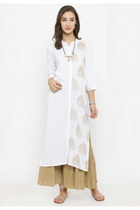 White Colour Readymade Casual Kurtis Online