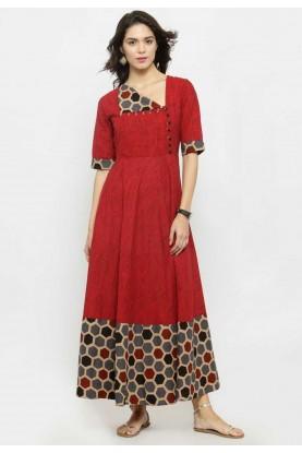 Red Colour Designer Casual Kurtis Online