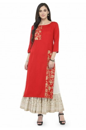 Red Colour Designer Kurti.