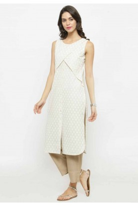 Off White Colour Casual Kurti.
