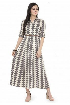 Cream Colour Cotton Kurti.