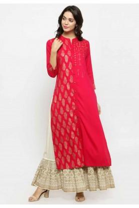Red Colour Readymade Kurti.