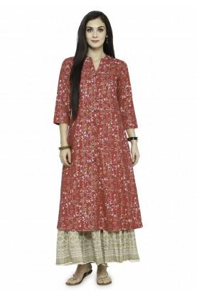 Red Colour Designer Readymade Kurti.
