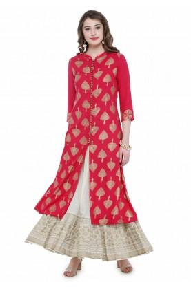 Red Colour Cotton Kurti.
