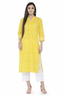 Yellow Colour Cotton Kurti.