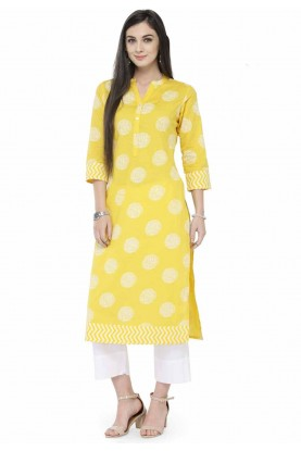 Yellow Colour Readymade Kurti.