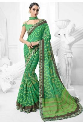 Green Colour Indian Sari.