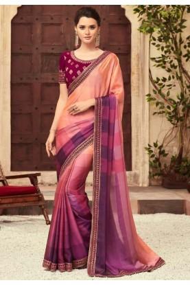 Multi Colour Embroidery Saree.
