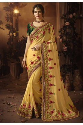 Yellow Colour Indian Designer sarees online shopping