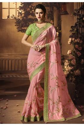 Pink Colour Silk Designer sarees online shopping