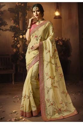 Cream Colour Designer sarees online shopping