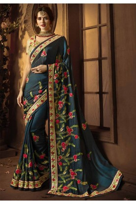 Buy Designer Sarees Online India with Green Colour and Embroidery
