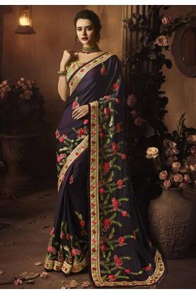 Buy Designer Sarees Online India with Purple Colour