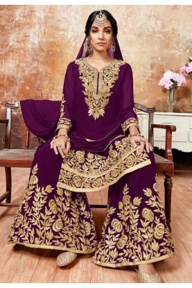 Purple Colour Designer Sharara Suit.