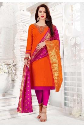 Orange Colour Cotton Salwar Kameez.