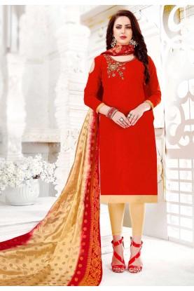 Red Colour Cotton Salwar Kameez.