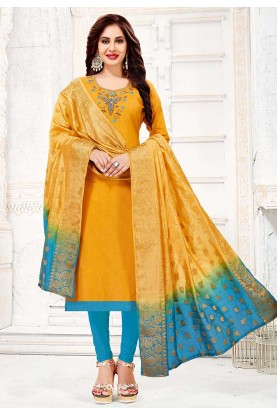 Yellow Colour Party Wear Salwar Kameez.