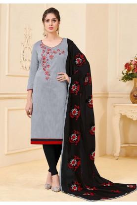Grey Colour Casual Salwar Kameez.