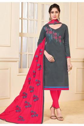 Grey Colour Salwar Kameez.