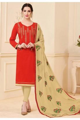 Red Colour Party Wear Salwar Kameez.