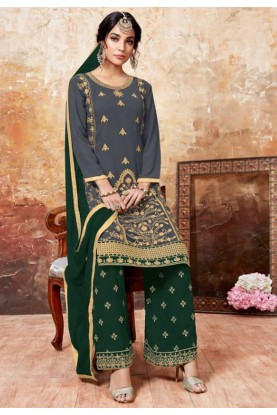 Grey,Green Colour Georgette Salwar Kameez.