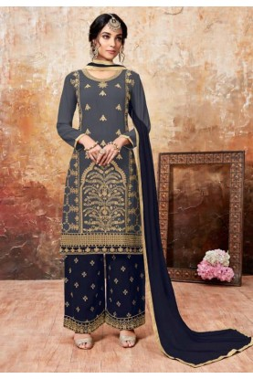 Grey,Blue Colour Designer Palazzo Salwar Suit.