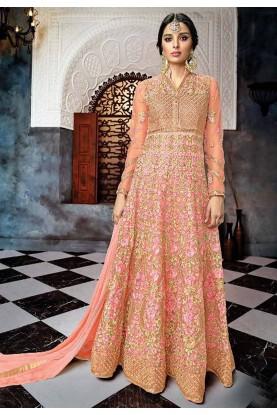 Pink Colour Anarkali Salwar Suit.