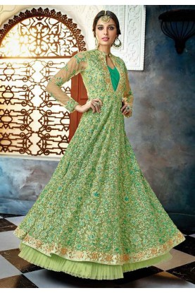 Buy Anarkali Suit Online with Green Colour