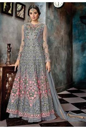 Party Wear - Buy Anarkali Salwar Suit Online with Grey Colour