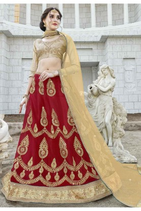 Red Colour Wedding Bridesmaid lehenga online