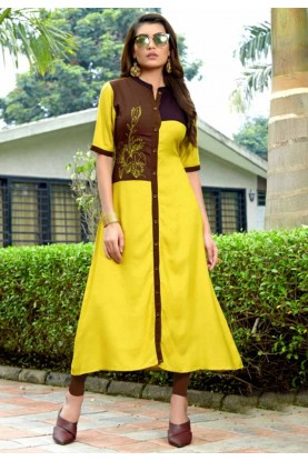 Yellow Colour Cotton Heavy embroidered kurtis online