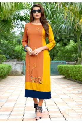 Orange,Yellow Colour Heavy embroidered kurtis online