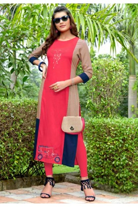Pink Colour Embroidery Heavy embroidered kurtis online