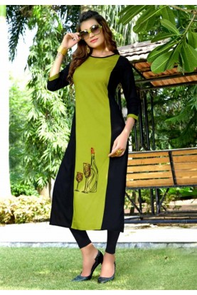 Green Colour Readymade Heavy embroidered kurtis online