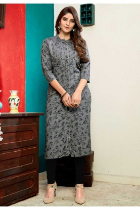 Buy indian kurtis printed in grey colour