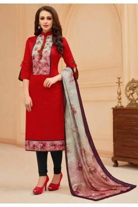 Red Colour Party Wear Salwar Suit.
