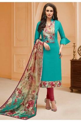 Green Colour Casual Salwar Kameez.