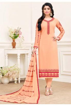 Buy Peach colour georgette Indian salwar kameez