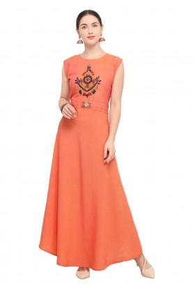 Buy orange colour Indian kurti tops online