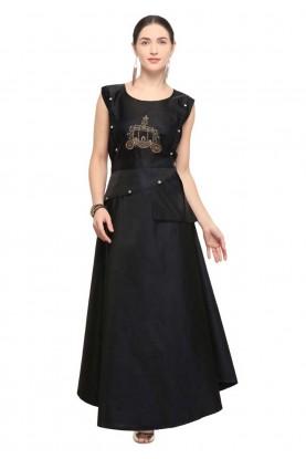 Buy kurtis online india in black colour anarkali design