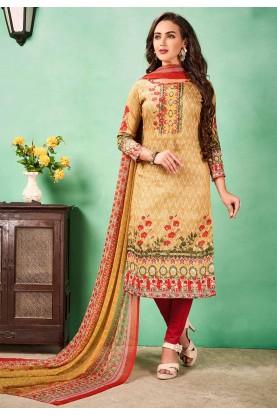 Buy salwar kameez online in beige colour casual suit